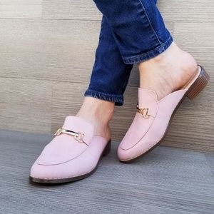Shoes - Pink Slip on flat mule loafer W gold buckle-A